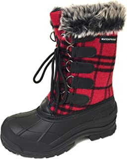 G4U-CDS Women's Winter Boots Cold Weather Insulated Flannel Plaid Lace up Waterproof Snow Fur Duck Shoes