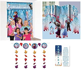 Frozen 2 Birthday Princess Party Decorating Kit: Scene Setter with Photo Props, Hanging String Decorations, a Table Decorating Kit and an Exclusive ElevenPlus 2 Bookmark
