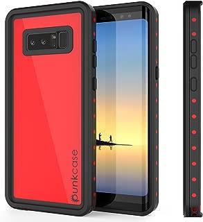 Galaxy Note 8 Waterproof Case, Punkcase [StudStar Series] [Slim Fit] [IP68 Certified] [Shockproof] [Dirtproof] [Snowproof] Armor Cover for Samsung Galaxy Note 8 [RED]