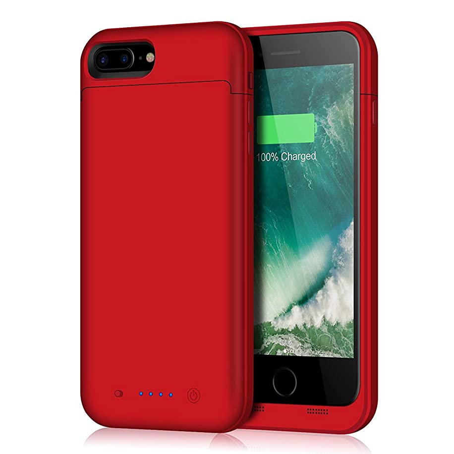 Battery Case for iPhone 8 Plus/7 Plus,7000mAh Battery Pack Charger Case for 8 Plus Extended Portable Battery Charging Case for iPhone 7 Plus,8 Plus - Red