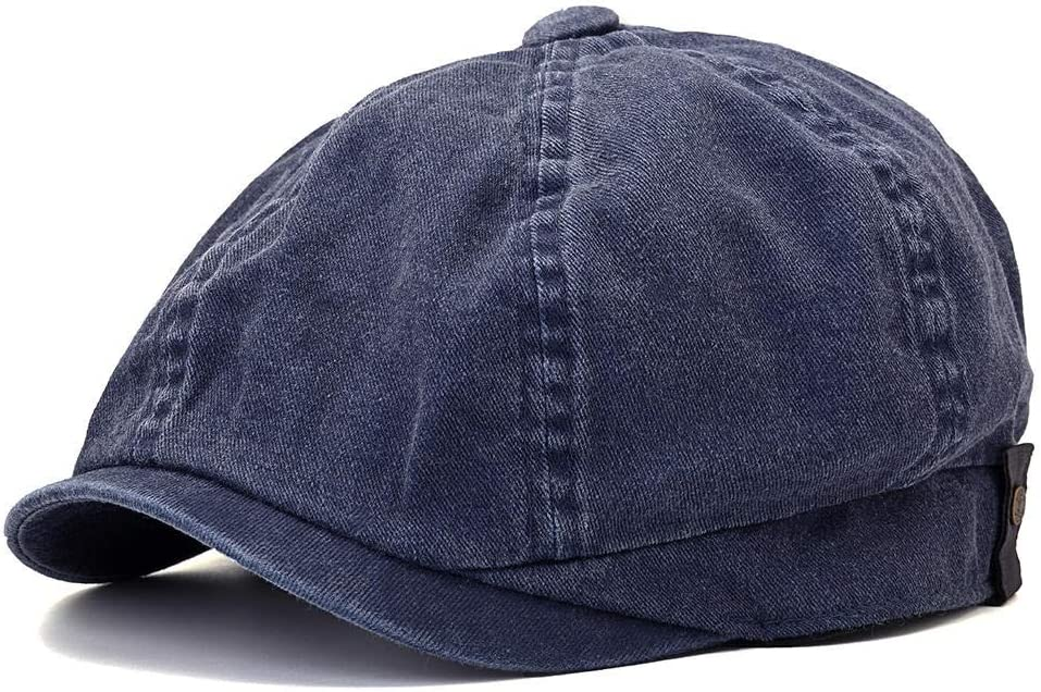 Hat Men and Women Washed Cotton Octagon Beret Hat Outdoor Leisure Newsboy Caps Accessories (Color : Blue)