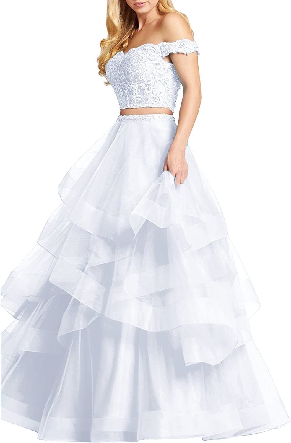 Beauty Bridal Shoulder Two Piece Prom Dresses Asymmetric Layered Evening Party Gowns