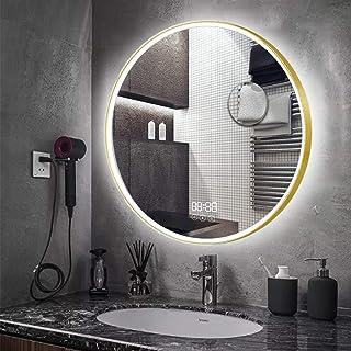 ideale come specchio da bagno o da trucco a risparmio energetico Specchio da parete con illuminazione a LED interruttore a sensore e orologio digitale IP44