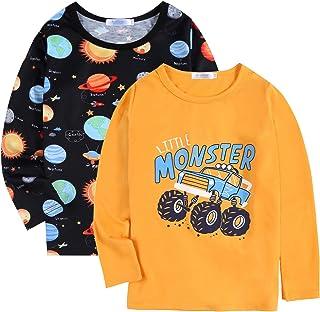Arshiner Boys 2-Pack Long Sleeve Tee Shirts Crewneck Graphic T-Shirt Tops
