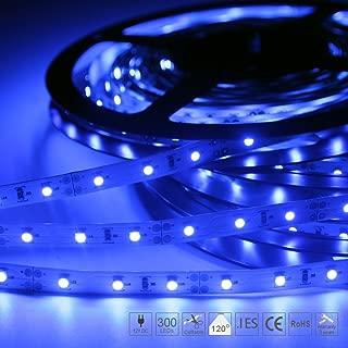 Signcomplex 16.4ft LED Flexible Strip Lights 300 Units SMD3528 LED Non-Waterproof 12V DC Led Tape Light for DIY Christmas Lights Party Kitchen Bedroom Cars Bar Decoration -Blue, UL Listed