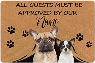 Custom Personalized All Guests Must Be Approved by Our Pet Dog Doormat 23.6 x 15.7 Inches with Name Door Floor Mat Outdoor...