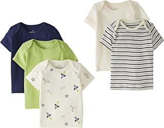 Moon and Back by Hanna Andersson Lot de 5 T-shirts à col rond en coton bio, pour bébés
