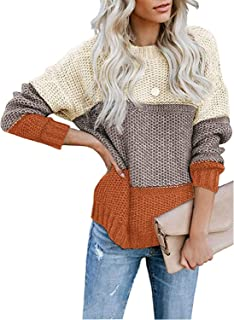 Womens Color Block Long Sleeve Ribbed Knit Oversized Pullover Sweaters