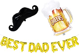 Fathers Day Balloons - Best Dad Ever Banner with Moustache and Beer Mug Balloons - Fathers Day Decorations - Fathers Day Party Supplies