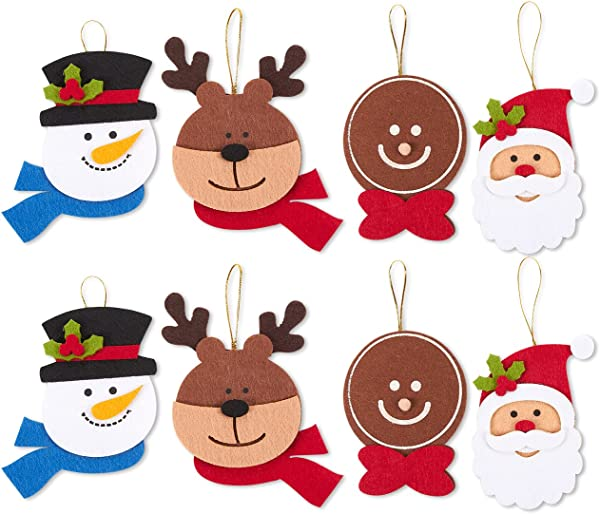 Juvale Pack Of 8 Felt Ornament Set Includes Reindeer Santa Claus Gingerbread Man Snowman Heads Cute Christmas Ornaments Ready To Hang On Christmas Tree