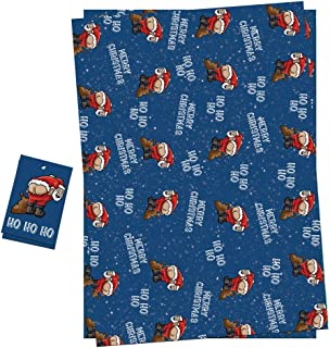 Christmas Wrapping Paper Sheets + Gift Tags (Pack 2) Funny Rude Santa Pulling A Mooney Design For Men & Women