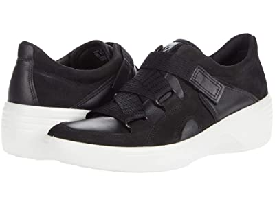 ECCO Soft 7 Wedge Strap Sneaker (Black/Black) Women
