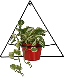 Green Gardenia Iron Red Triangle Shape Wall Bracket with Bucket Planter/Wall Planter-Red