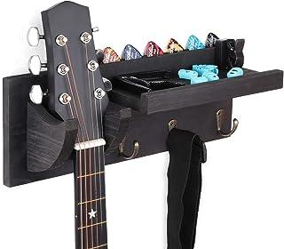 Bikoney Guitar Wall Hanger Guitar Holder Wall Mount Bracket Hanger Guitar Wood Hanging with Pick Holder and 3 Hook Black