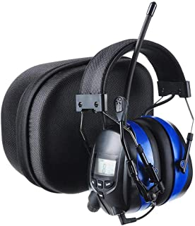 PROTEAR Bluetooth Hearing Protector Earmuffs AM/FM Radio with Boom Microphone, Noise Reduction Safety Ear Muffs with a Carrying Case, NRR 25dB Wireless Headphones for Mowing Lawn