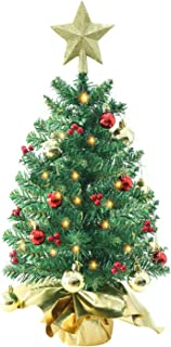 Liecho 24 Inch Tabletop Mini Christmas Tree, Miniature Pine Christmas Tree with Hanging Ornaments, Battery Operated Artificial Xmas Tree, Best DIY Christmas Decorations