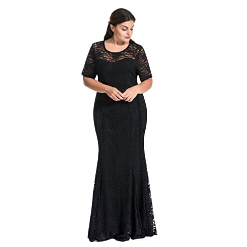dabfa6ff5eaf9 myfeel Women Plus Size Lace Ruched Empire Waist Sweetheart Mermaid Fishtail  Cocktail Evening Dress Wedding