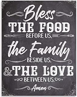 Bless The Food Before Us The Family Beside Us The Love Between Us 11x14 Unframed Typography Art Print - Great Gift and Decor for Kitchen and Dining Room Under $15