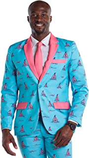 Men's Summer Sunset Sail Suit - Tropical Blue Sailboat (Jacket and Pants Sold Separately)