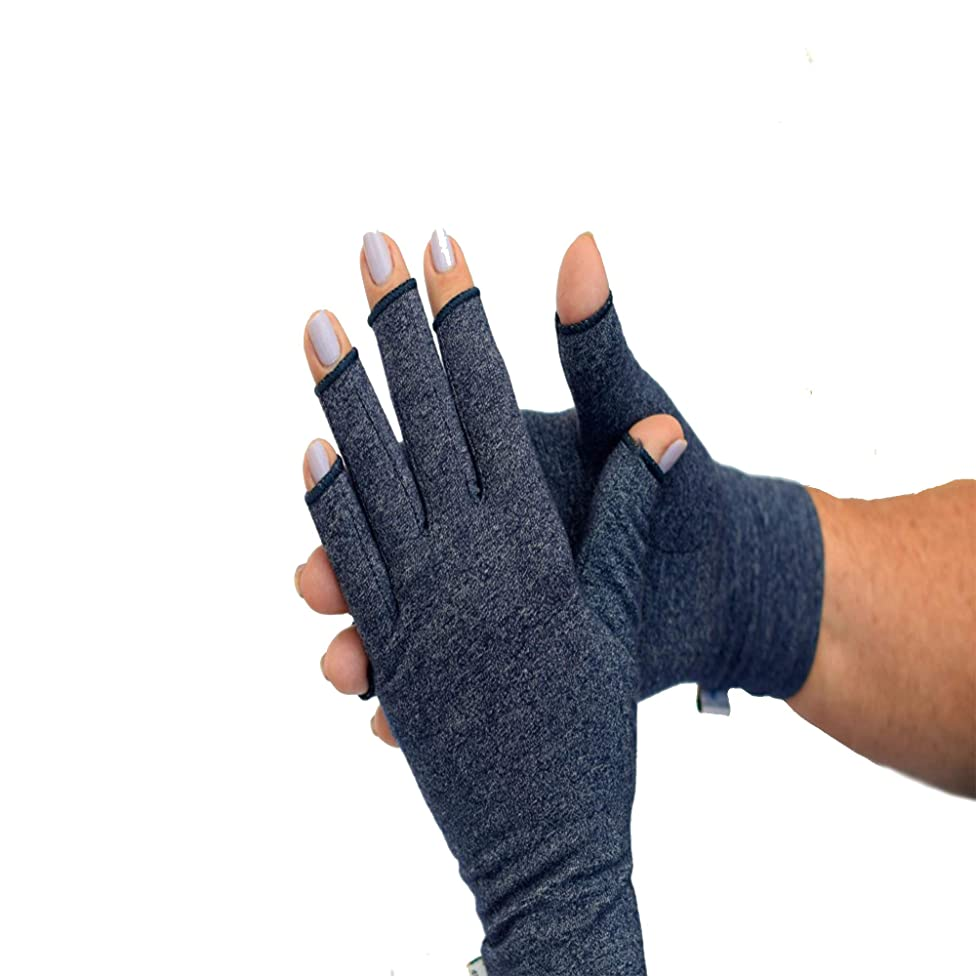 Rheumatoid Pain Compression Arthritis Gloves. Pain Relief, Ease Muscle Tension, Relieve Carpal Tunnel Ache for Men and Women, Heat Hand Gloves for Computer. (Navy Blue) (Small)