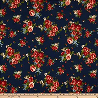 Fabric Liverpool Double Knit English Rose Bouquet Navy/Dark Coral Fabric by the Yard
