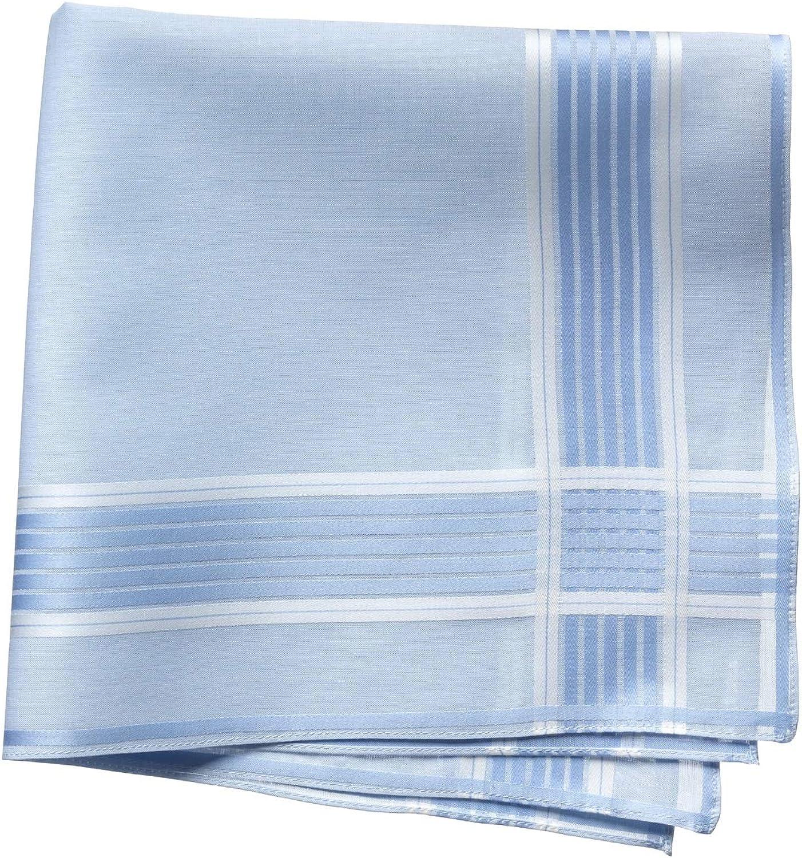 Lehner Switzerland Men's Fancy Woven Blue Stripe Satin Band Cotton Handkerchief, Hand Rolled Hem