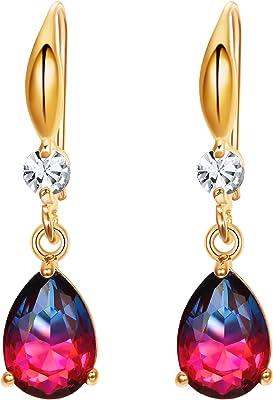 EVER FAITH Orecchini Nuziale Orecchini Rhinestone cristallo goccia Pendente Orecchini per donne Ragazze Viola Oro-fondo