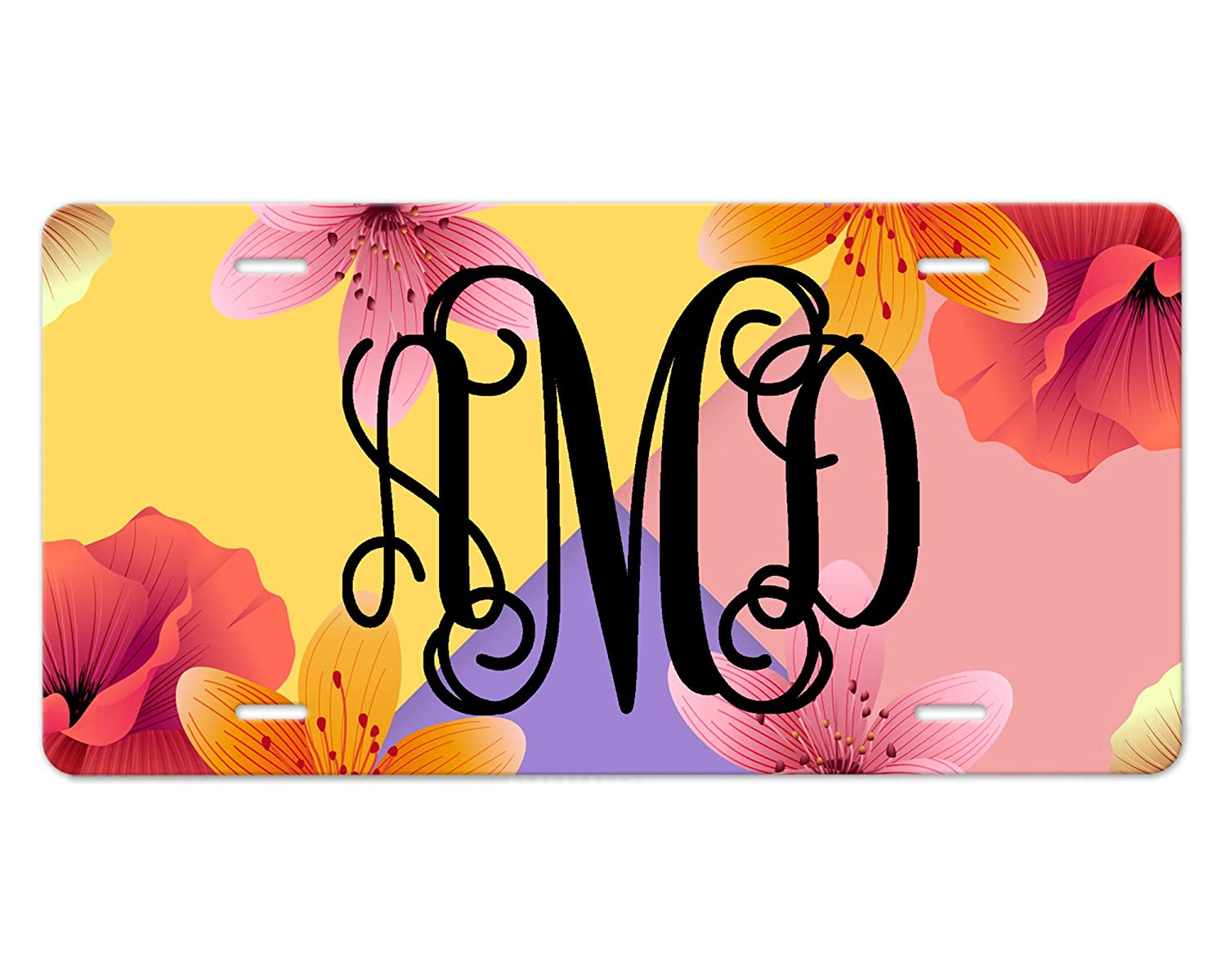 Max 84% OFF Customizable Monogram Front Car Tag Design Purple Yell Topics on TV Floral -