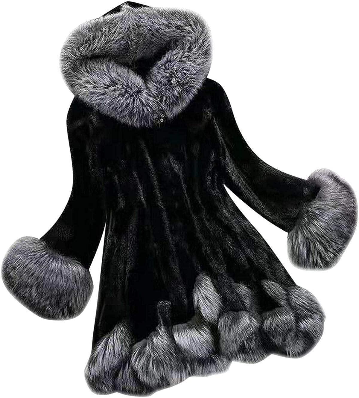 Womens Faux Fur Coats with Hood Winter Fashion Elegant Thicken Warm Plush Cardigan Cloak Outwear Overcoat Jackets