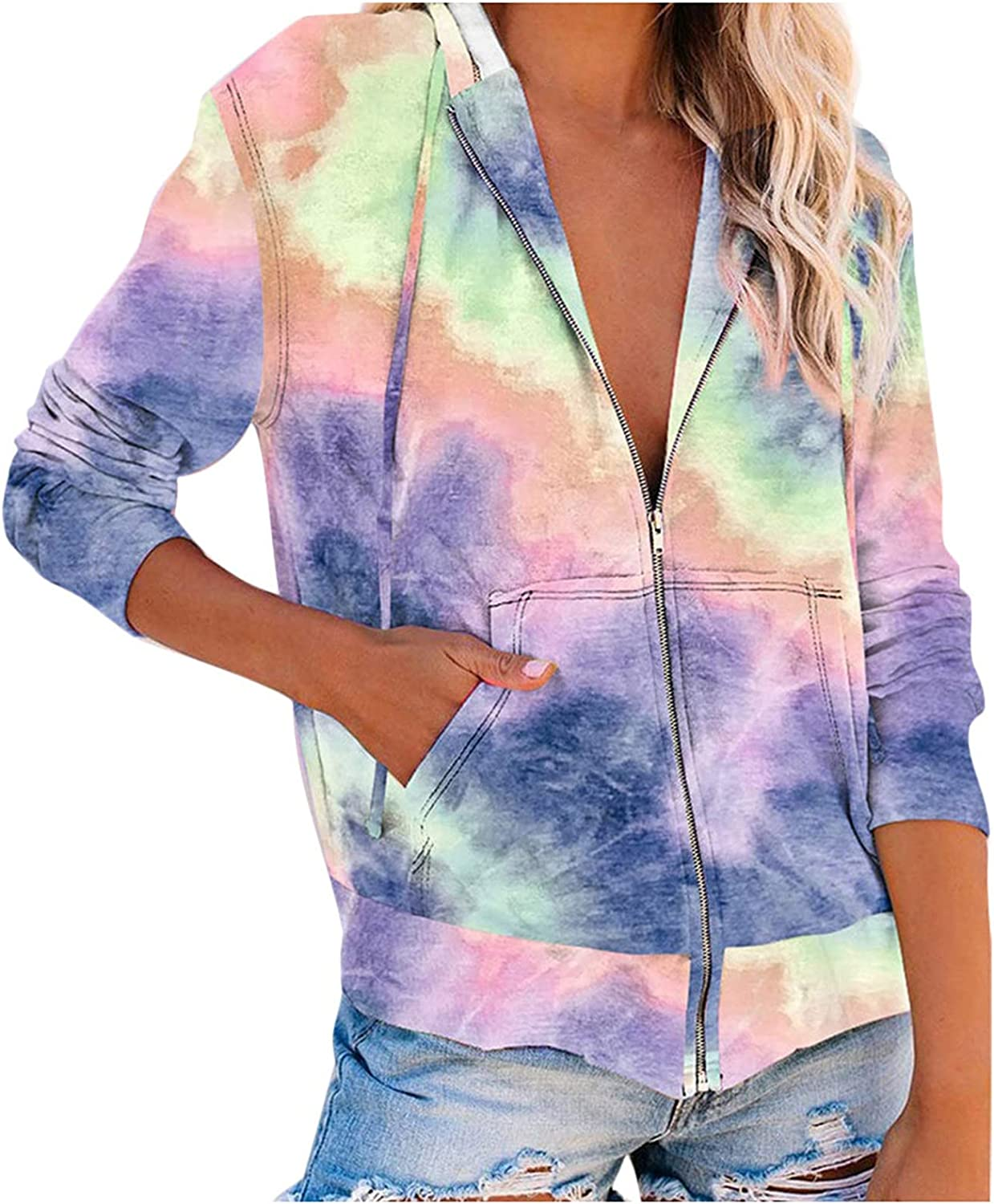 BODOAO Women Y2K Graphic Zip Up Hoodie Long Sleeve Tie Dye Camouflage Hooded Jacket Pullover Casual Sweatshirt with Pockets
