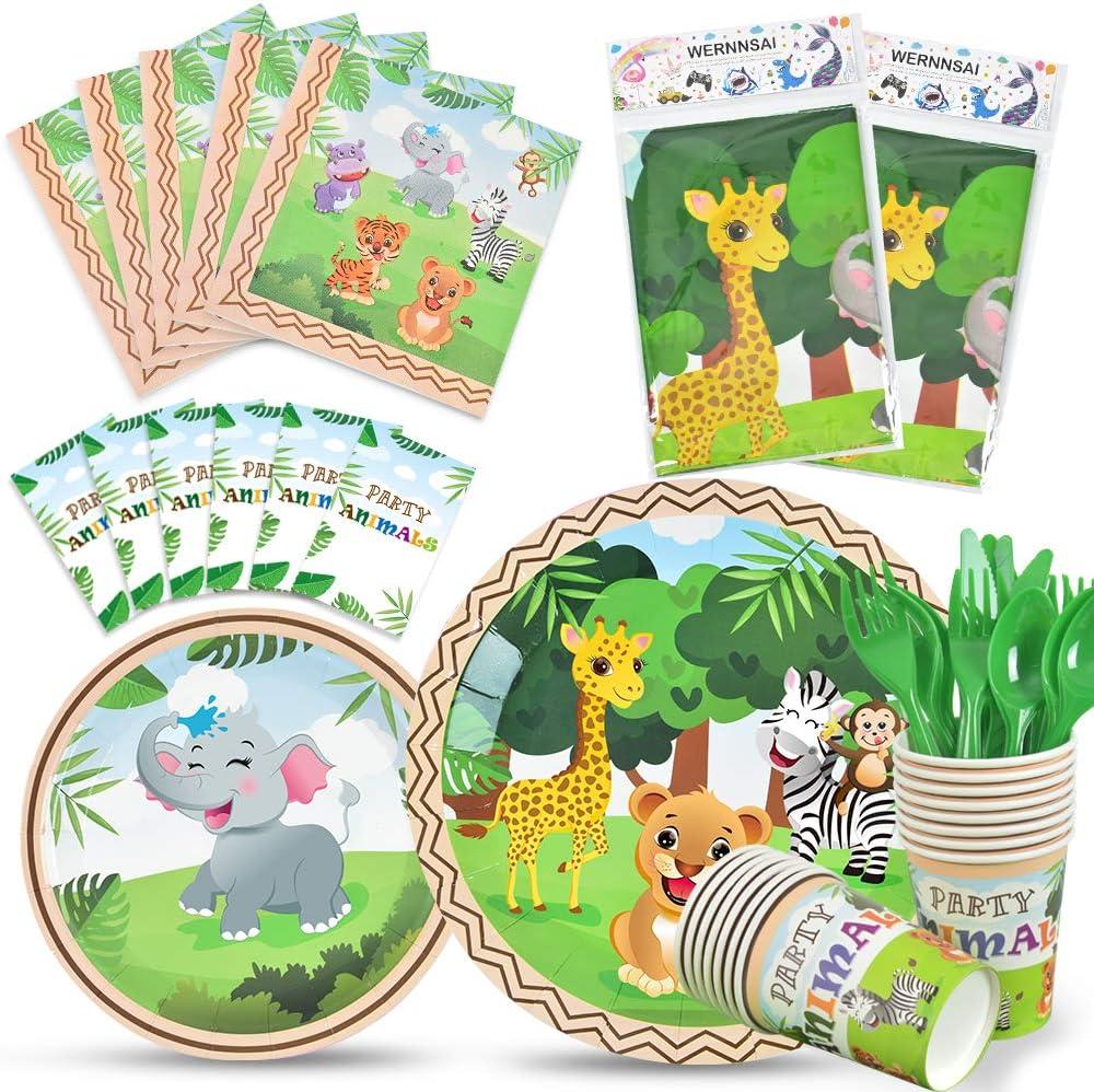 WERNNSAI Jungle Safari Theme Party Tableware Set - Zoo Animals P