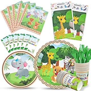 WERNNSAI Jungle Safari Theme Party Tableware Set - Zoo Animals Party Supplies for Kids Birthday Baby Shower Includes Plate...