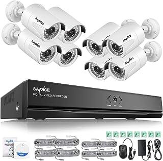 SANNCE Kit de Seguridad 8CH 1080P PoE NVR y 8 Cámara IP de Seguridad Interior y Exterior IP66 Impermeable visión Nocturna y personalización de detección de Movimiento-sin HDD
