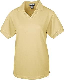 Women's Poly/Cotton Short Sleeve V Neck Collar Pique Knit Golf Shirt (11 Colors)