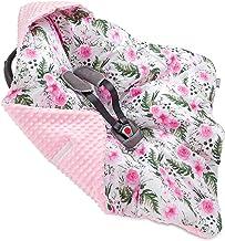 Jukki MINKY Einschlagdecke mit Kapuze Babyschale für Kindersitz im Auto oder Kinderwagen, Baby Decke Kuscheldecke, Babydecke ideal für Reisen || 90cm x 90cm