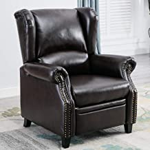 CANMOV Push Back Recliner Chair, Leather Wingback Accent Club Chair for Living Room,Brown01