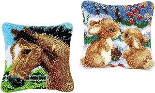 D DOLITY 2 Sets Rabbits Horse Latch Hook Kits with Starter Kit Making Pillowcase DIY