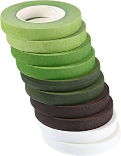 Gejoy 10 Rolls Floral Tapes Floral Adhesives with 5 Colors, 0.5 Inch Wide by 30 Yard for Bouquet Stem Wrap Florist Tapes Flowers Making Tapes (Dark Green, Green, Grass Green, White, Coffee Brown)