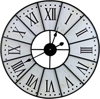 """Sorbus Large Decorative Wall Clock, 24"""" Round Oversized Centurion Roman Numeral Hands, Vintage Distressed White Rustic Farmhouse Style, Analog Metal Clock"""