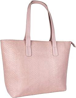 SIX Damen Tasche, Handtasche mit Schlangenprint, Shopper mit Langen Henkeln, Schlangenmuster in Rosa mit goldenen Details...