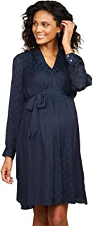 Women's Maternity Balloon Sleeve V-Neck Pleated A-line Dress