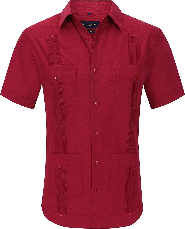 Suslo Couture Men's Short Sleeve Wrinkle Linen Feel Guayabera Button Down