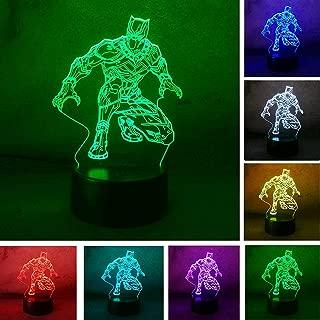 TwClutch Night Light Cool Black Panther Marvel Hero 3D LED RGB 7 Color Change Desk Lamp USB Child Kids Boy Gift Christmas Home Decro(Black Panther) Xmas Birthday