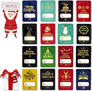 144 Count Christmas Gift Tags Sticker Self Adhesive 16 Colorful Xmas Labels Designs,Name Tags on Gifts/Presents,Wrapping Paper and Gift Bags Holiday Decoration