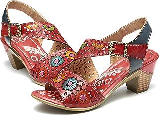 Sandalias Cuero Verano Mujer Estilo Bohemia Zapatos de Tacón Medio para Mujer de Dedo Sandalias Talla Grande 37-42 Chanclas Romanas de Mujer Café Naranja Hecho a Mano Los Zapatos 2019