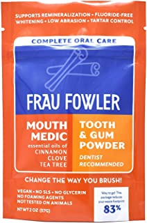 Frau Fowler MOUTH MEDIC Tooth Powder, Botanically Clean, Teeth-Whitening, Remineralizing, Sensitive-Teeth Treatment, (2 oz / 6+ Week Supply)