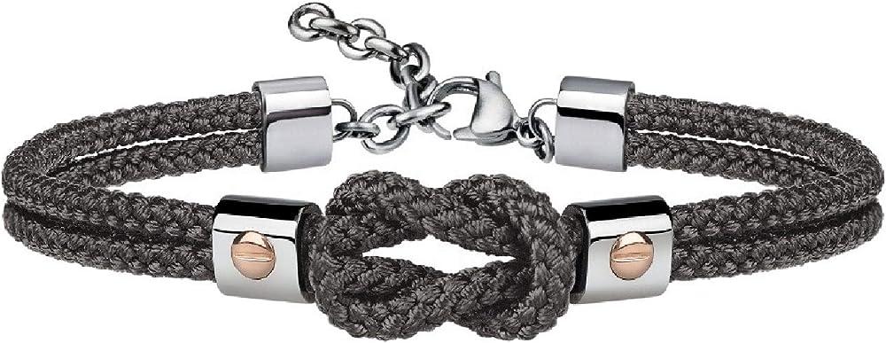 Breil, bracciale  per uomo, in acciaio e cordura,in diversi colori TJ2595