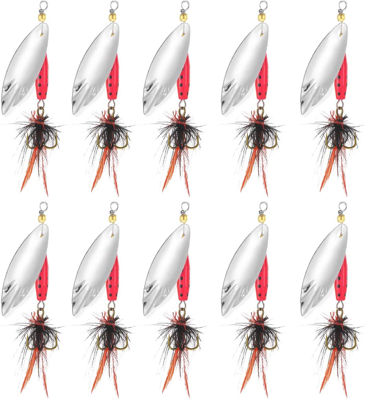 TUXIBIN 10 pcs Fishing Lures Baits Metal Sp SALENEW Fees free!! very popular Spinnerbait Spinners