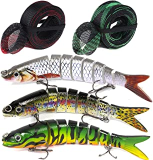 Fishing Lures for Bass Multi Jointed Artificial Swimbait Crankbait Topwater Hard Baits Lifelike Fishing Tackle Kits fits Saltwater Freshwater with 2 Fishing Rod Sleeve