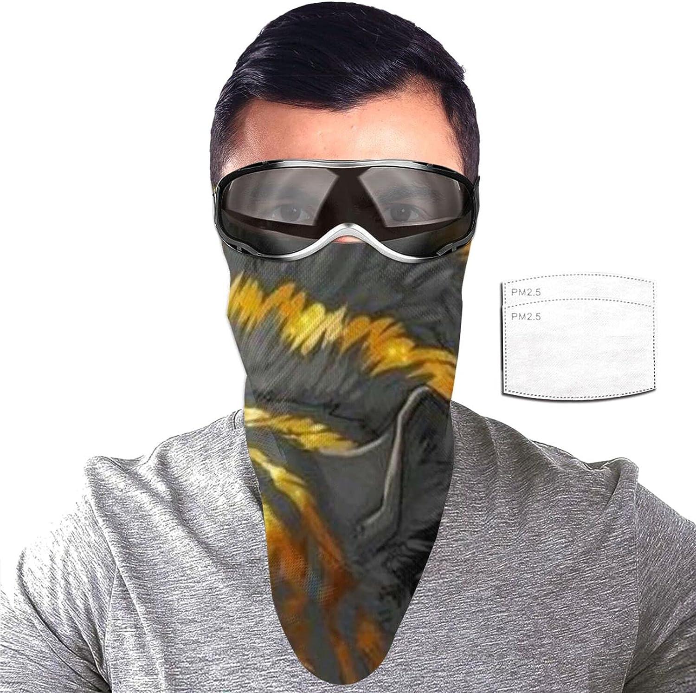 ZORIN Tigre con rayas doradas protección solar bandanas cara bufanda cubierta máscara con 2 filtros polaina cuello